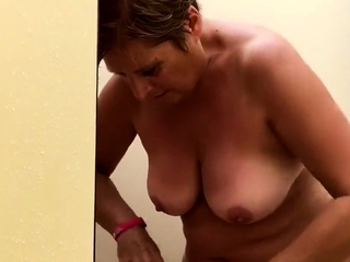 my BBW mom showers all over the holiday park