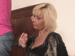 Tow-haired girlfriends mommy seduces him come by taboo sex